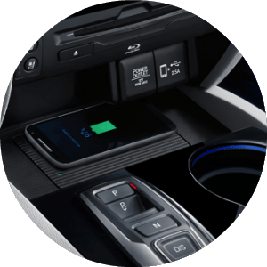 smartphone charging on the honda pilot wireless charging pad