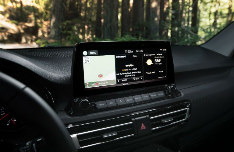 A photo of the touchscreen used in the 2021 Kia Seltos.