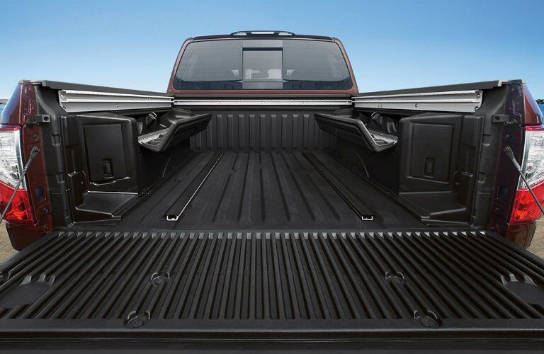 View of 2017 Nissan Titan's bed from rear
