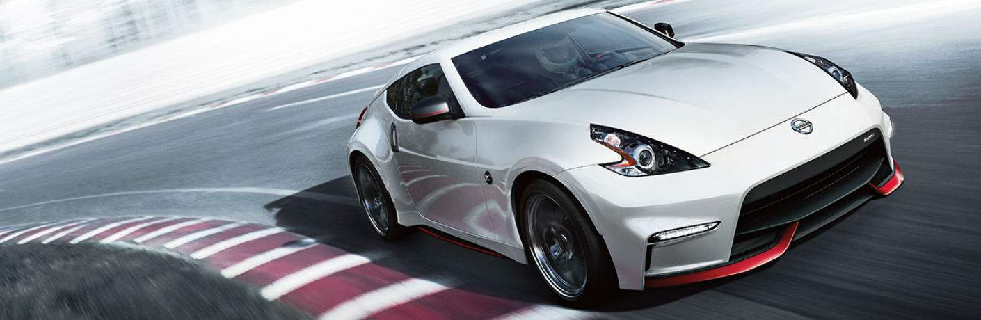 White 2018 Nissan 370Z on racetrack