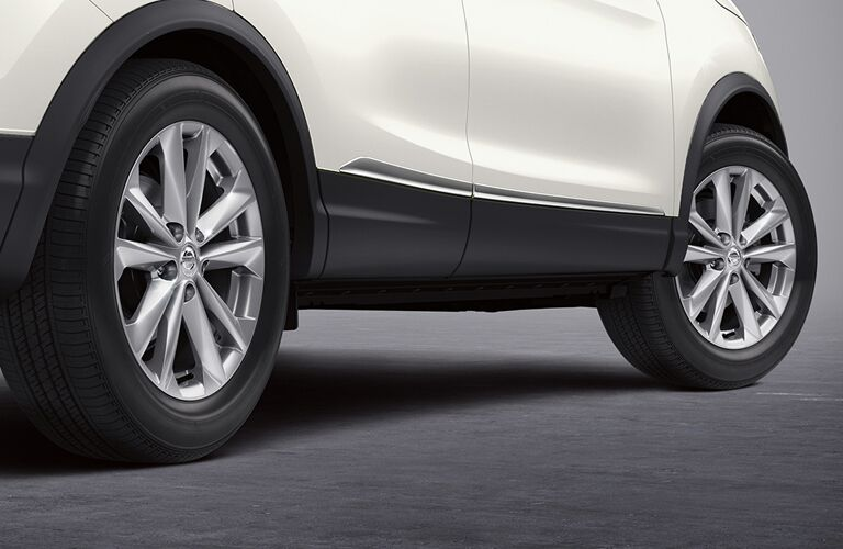 right side tires of white nissan rogue sport