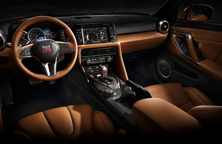 2018 Nissan GT-R Steering and dash top-down view.
