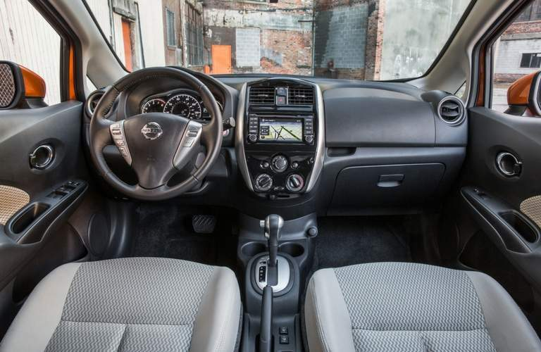 nissan versa interior, front seats and dash