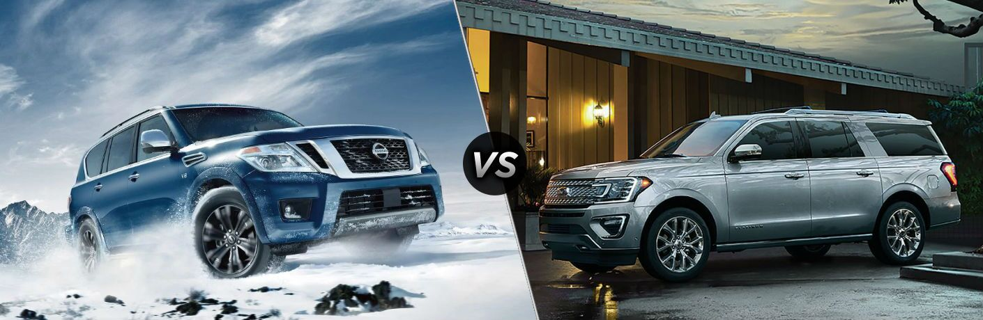 "Front passenger side exterior view of a blue 2019 Nissan Armada on the left ""vs"" driver side exterior view of a gray 2019 Ford Expedition on the right"