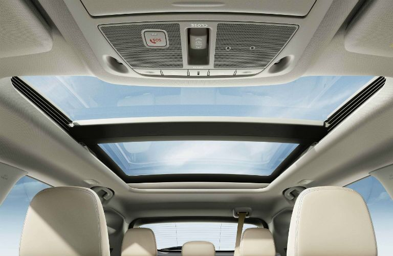 Looking out the available panoramic sunroof of the 2019 Nissan Murano