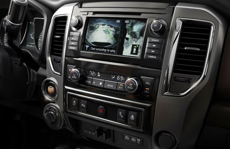 Touchscreen display and temperature controls of the 2019 Nissan TITAN
