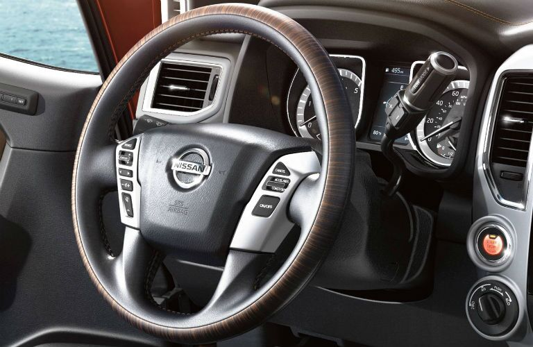 Steering wheel mounted controls of the 2019 Nissan Titan