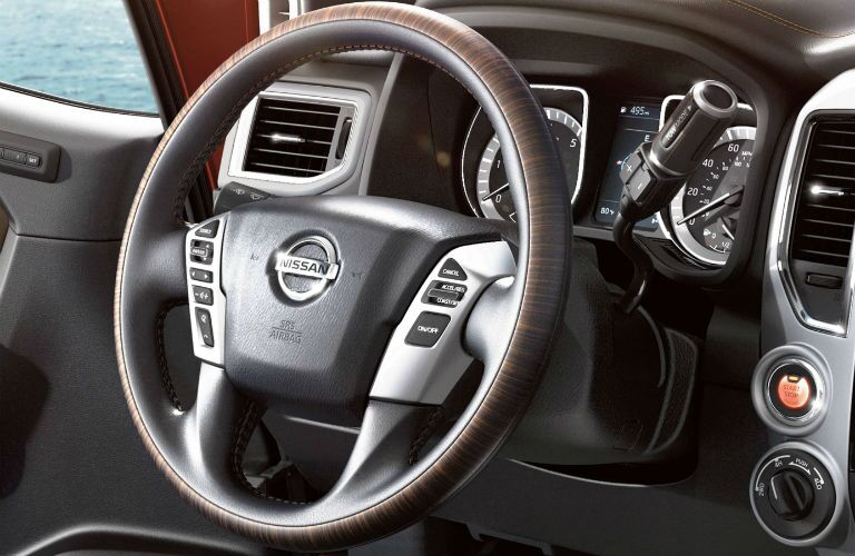 Steering wheel mounted controls and push-button start of the 2019 Nissan TITAN XD