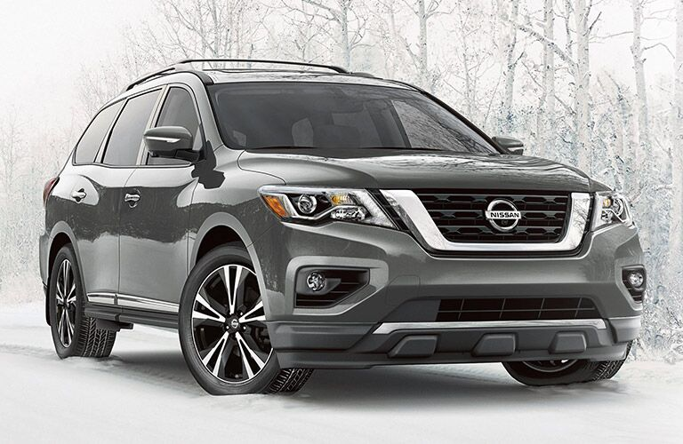 2020 Nissan Pathfinder parked on a snowy trail