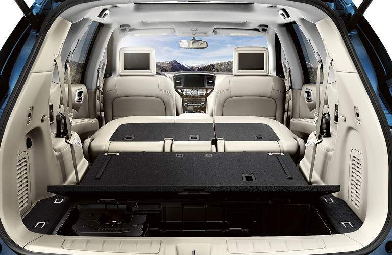A photo of the rear seats of the 2018 Nissan Pathfinder folded down for maximum cargo space
