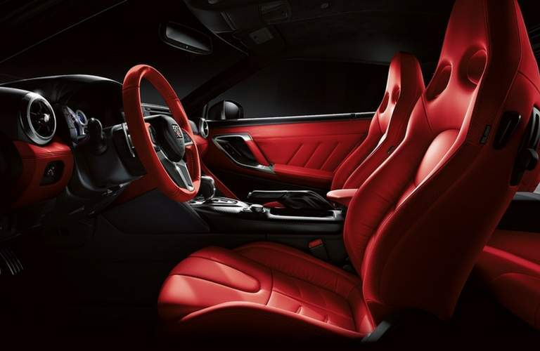 2018 Nissan GT-R front seats and steering wheel and dash.
