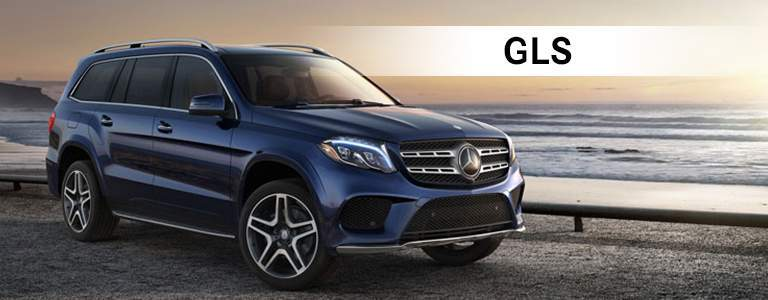 blue Mercedes-Benz GLS near ocean with GLS text