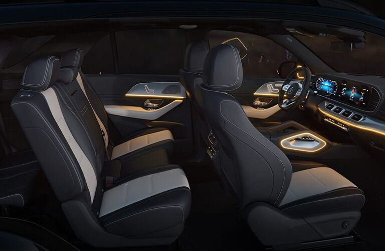 2020 Mercedes-Benz GLE interior shot of front and back rows with two tone trim
