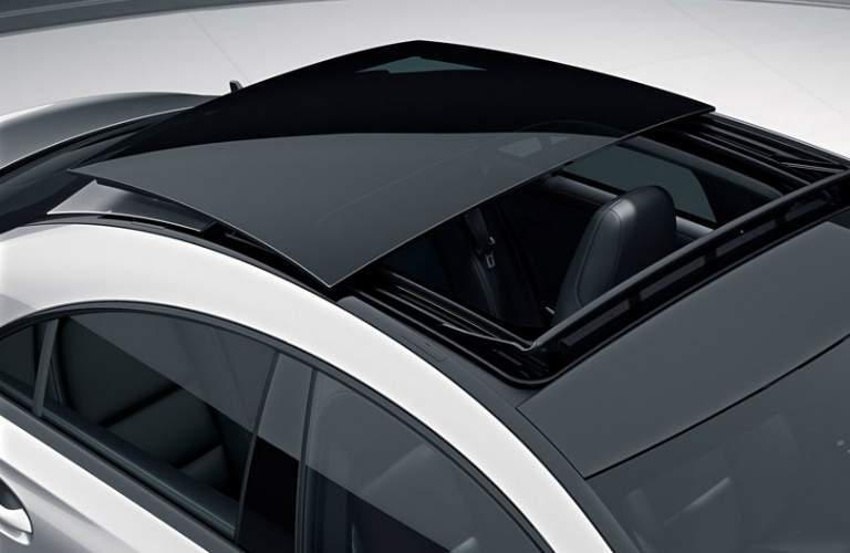 overhead view of sunroof on Mercedes-Benz CLA