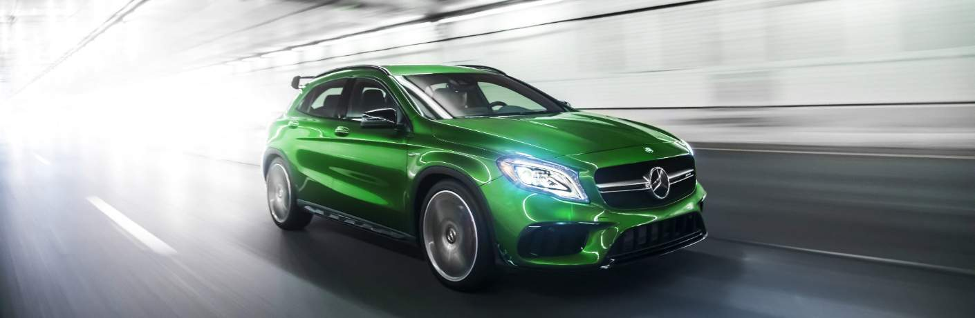 green 2018 Mercedes-Benz GLA inside a tunnel
