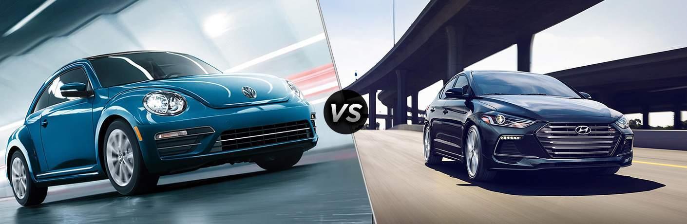 Blue 2018 Volkswagen Beetle, VS Icon, and Black 2018 Hyundai Elantra
