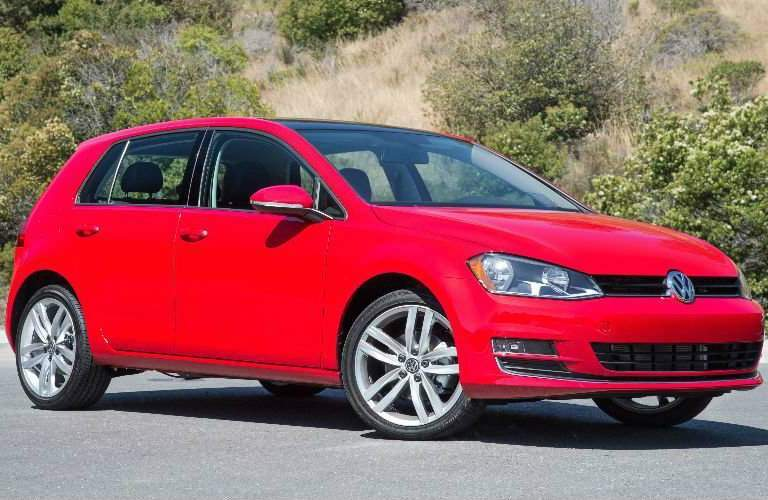 Side View of Red 2018 Volkswagen Golf