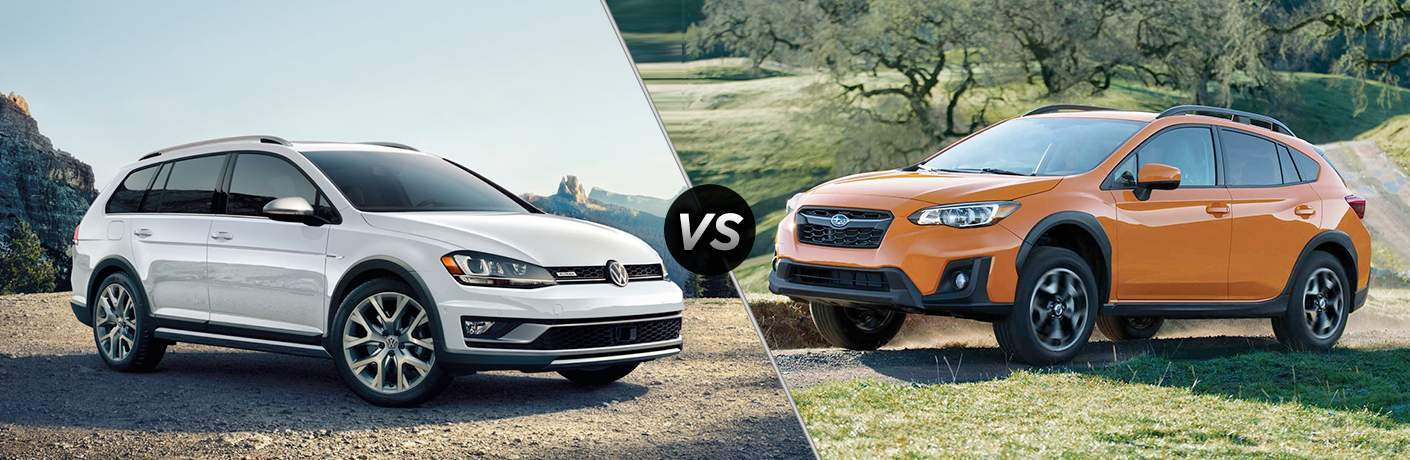 White 2018 Volkswagen Golf Alltrack, VS Icon, and Orange 2018 Subaru Crosstrek