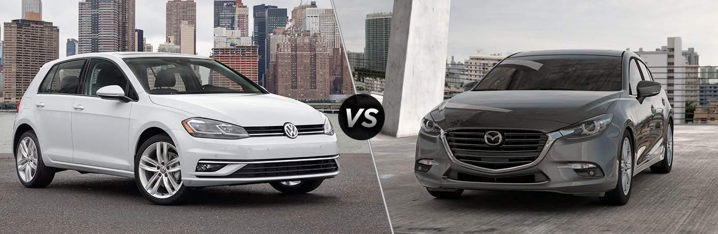 White 2018 Volkswagen Golf, VS Icon, and Dark Grey 2018 Mazda3 Hatchback