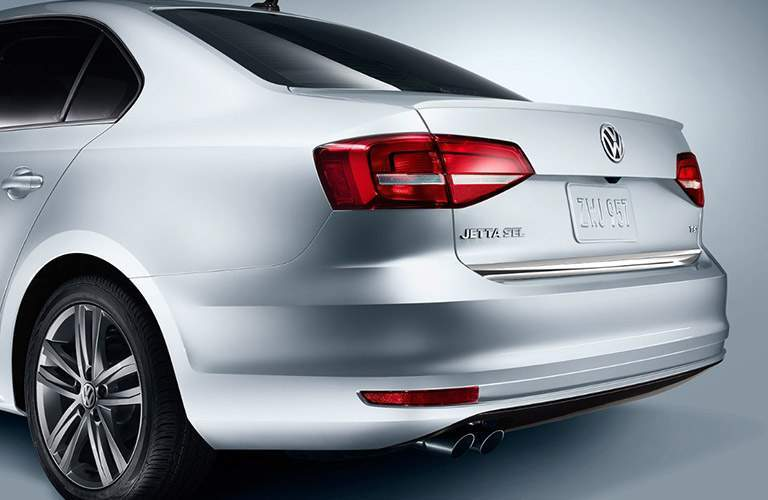 Rear View of White 2018 Volkswagen Jetta