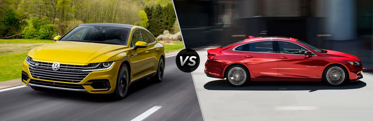 Yellow 2018 Volkswagen Arteon, VS Icon, and Red 2018 Chevrolet Malibu