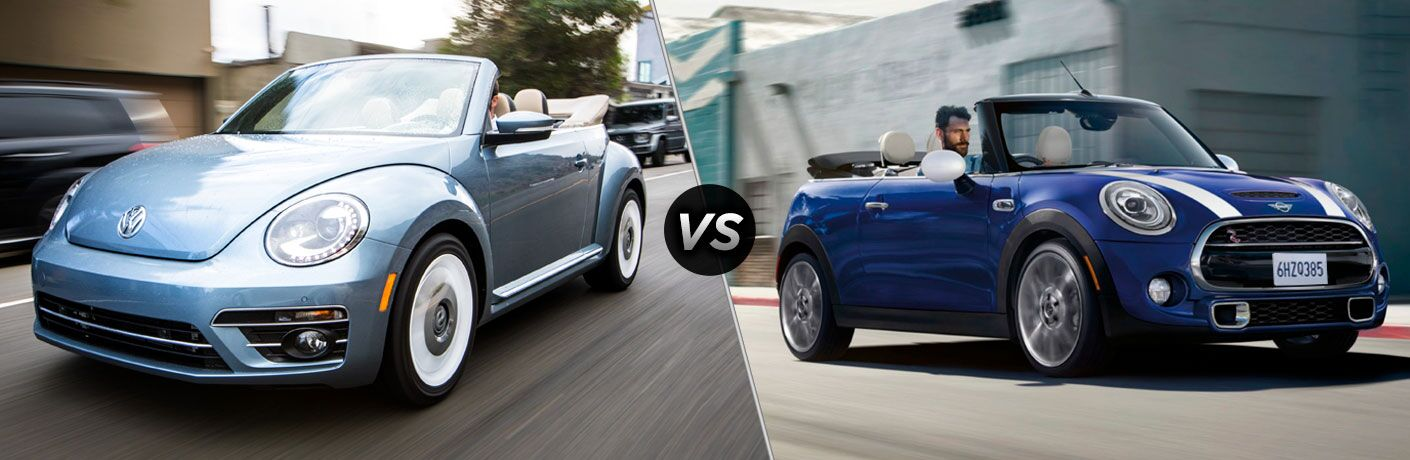 Blue 2019 Volkswagen Beetle Convertible, VS icon, and blue 2019 MINI Cooper Convertible