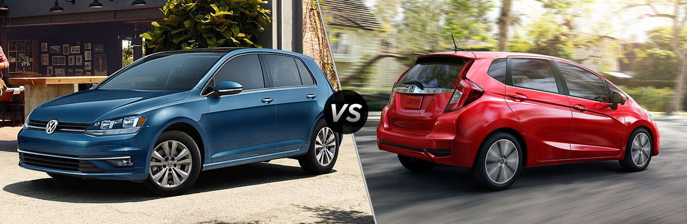 Blue 2019 Volkswagen Golf, VS icon, and red 2019 Honda Fit