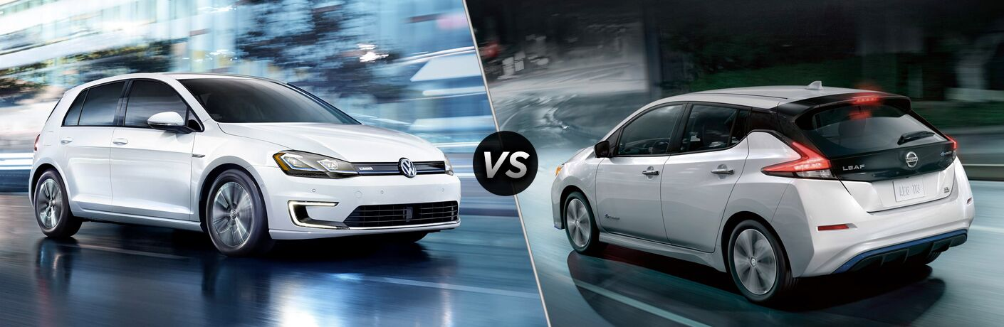 White 2019 Volkswagen e-Golf, VS icon, and white 2019 Nissan Leaf