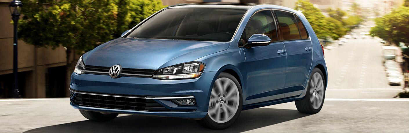 Front View of Blue 2019 Volkswagen Golf