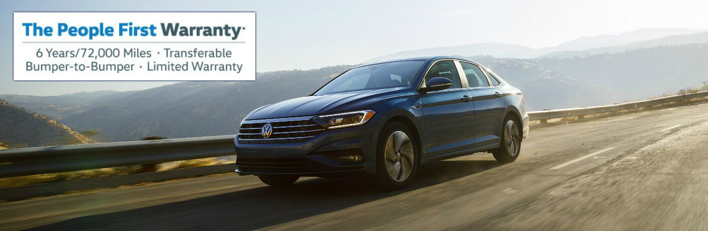 Blue 2019 VW Jetta and People First Warranty Title