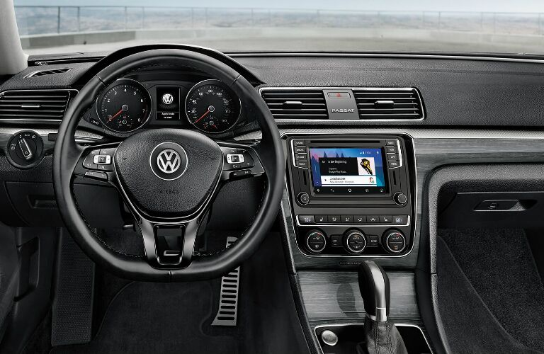 Steering wheel, gauges, and touchscreen in 2019 Volkswagen Passat