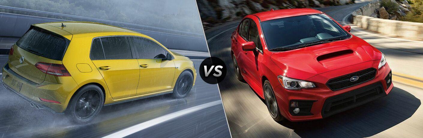Yellow 2019 Volkswagen Golf R, VS icon, and red 2019 Subaru WRX