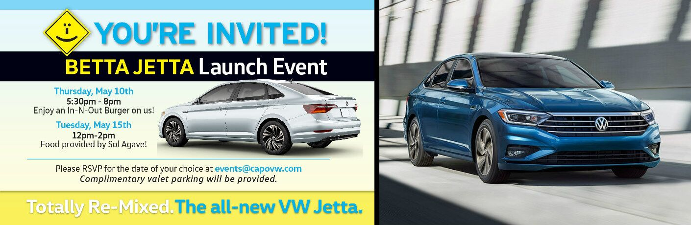 Details of Betta Jetta Launch Event and Blue 2019 VW Jetta