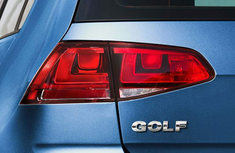 Shot of Volkswagen Golf name badge and rear taillight