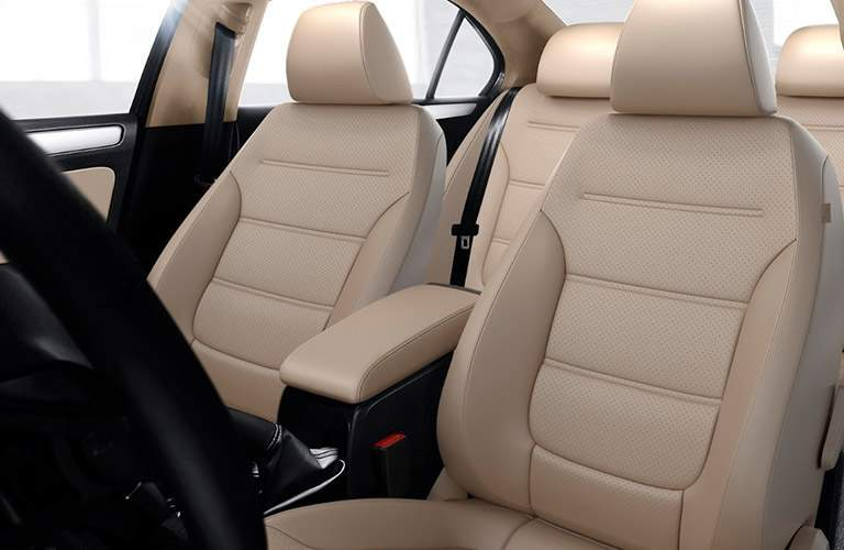 Two rows of seating in 2018 Volkswagen Jetta with leatherette seating surfaces prominent