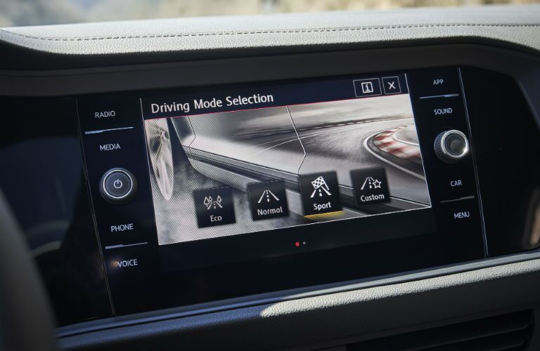 A photo of the touchscreen interface used by the 2019 VW Jetta GLI.