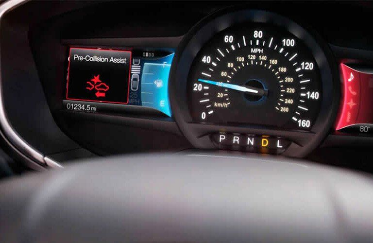 Close-up of the 2017 Ford Fusion's instrument cluster