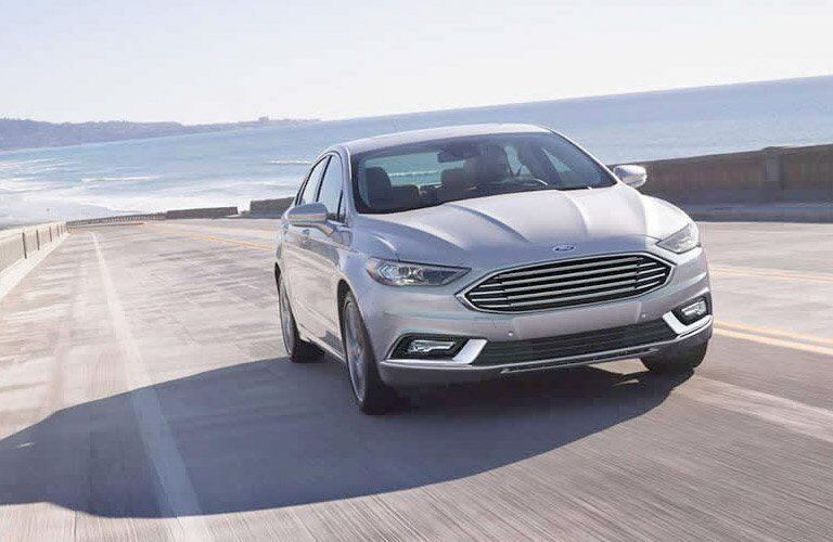 2017 Ford Fusion driving down the road
