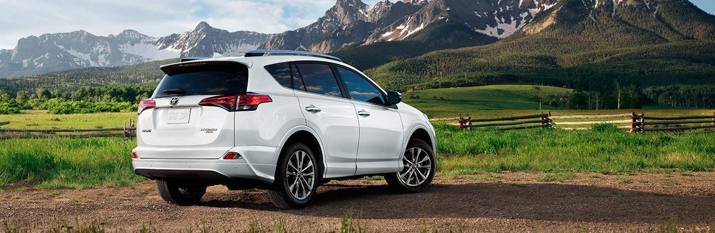 2017 Toyota RAV4 parked in front of mountains