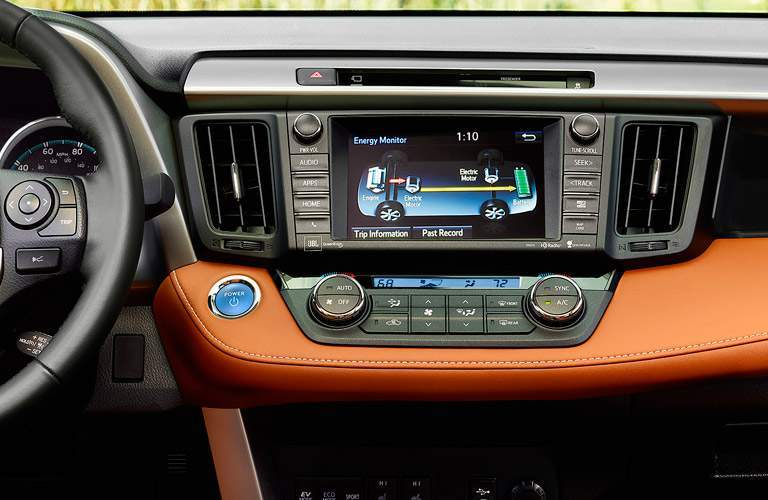 Close-up of touchscreen on 2017 Toyota RAV4
