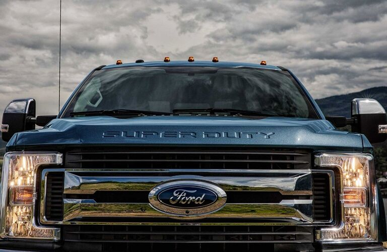 2018 Ford F-250 close up of front grill chrome finish