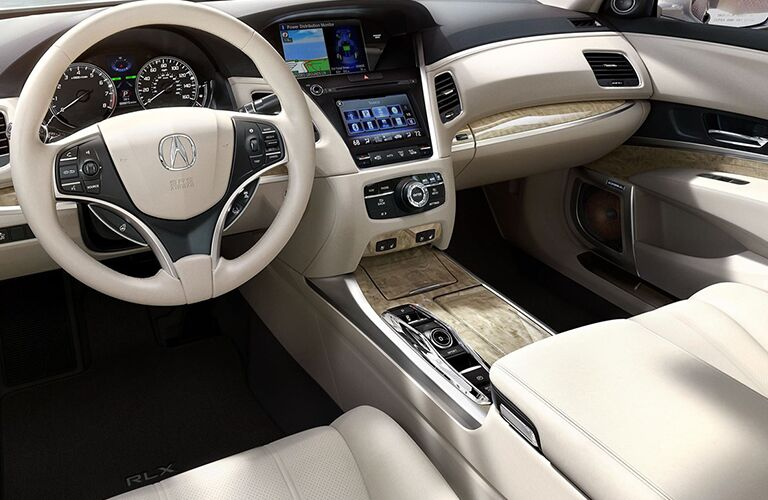 Steering wheel, front seats and dashboard in the 2019 Acura RLX