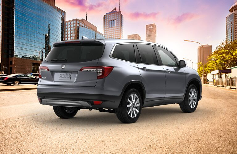 2020 Honda Pilot parked downtown at sunrise