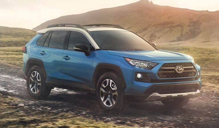 2019 Toyota RAV4 by the mountains