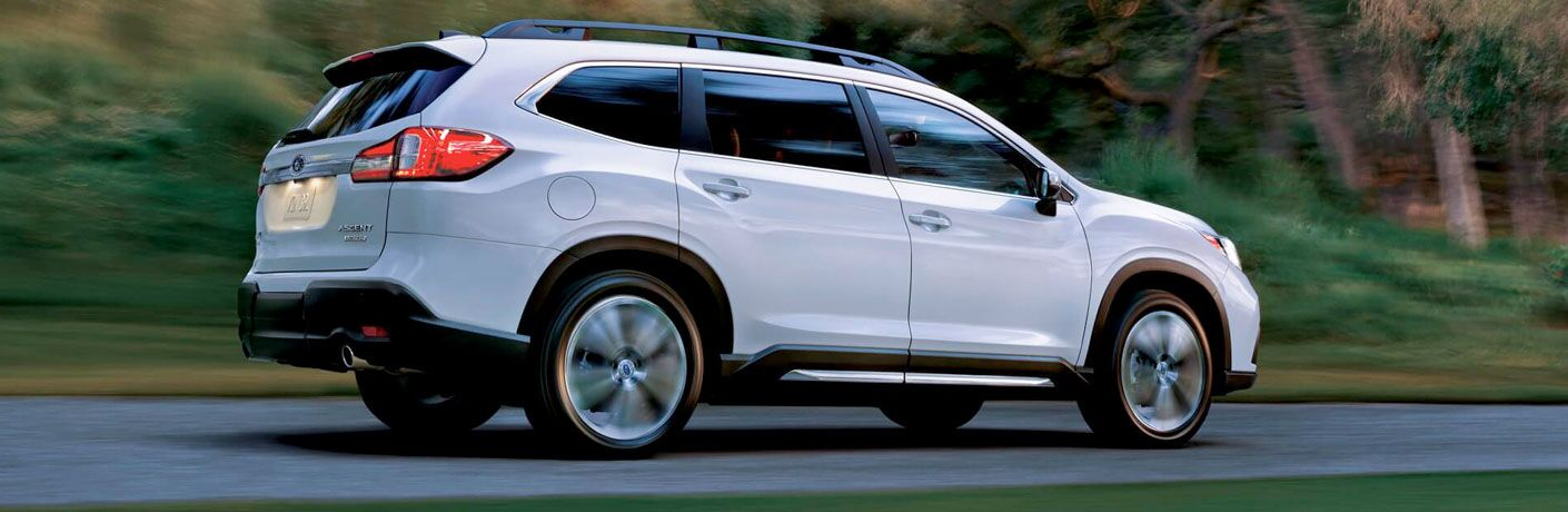 2021 Subaru Ascent driving down a forest road