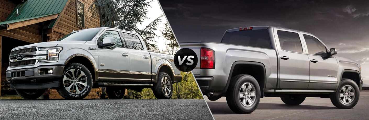 2018 Ford F-150 vs 2018 GMC Sierra exterior of both trucks