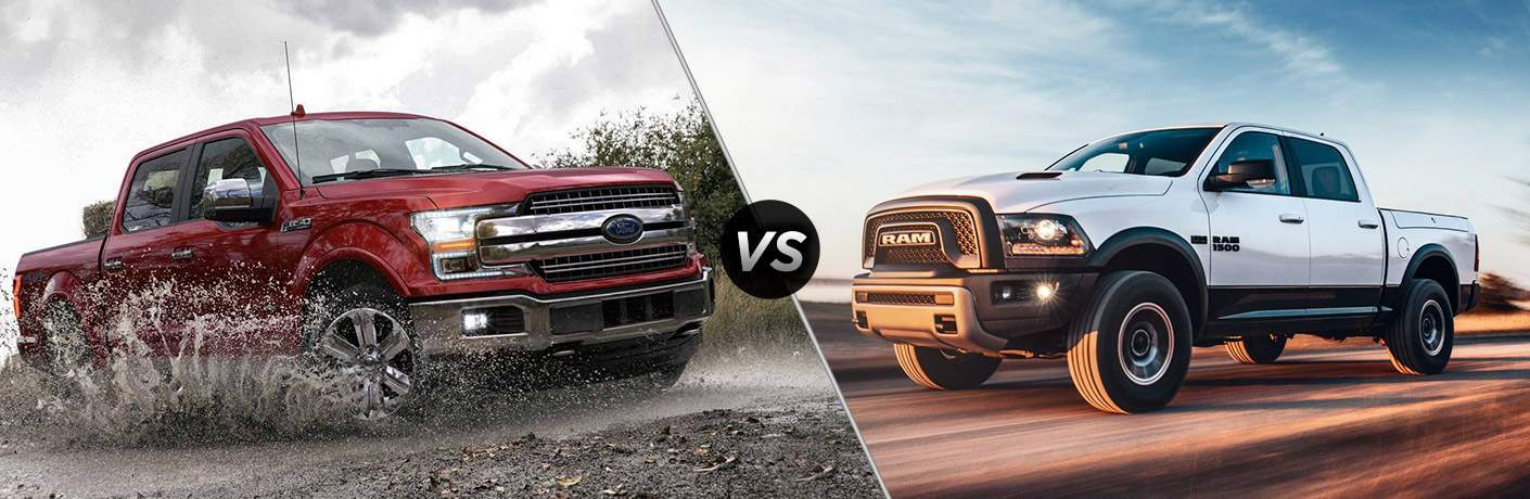 2018 Ford F-150 vs 2018 RAM 1500 front exterior view of both trucks