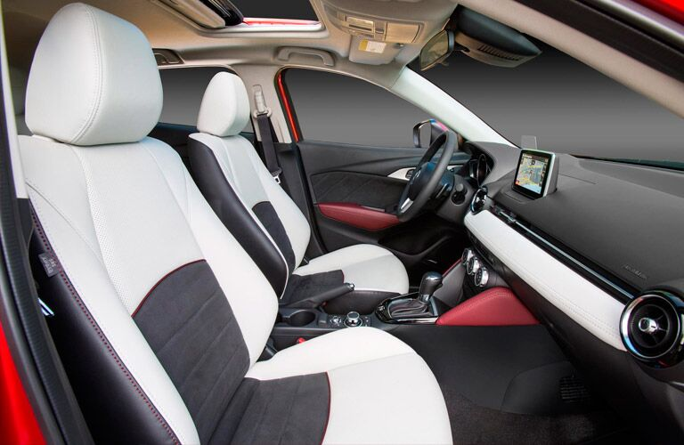 2016 mazda cx-3 with two tone white parchment color seats