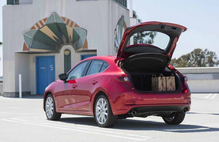 rear hatch cargo space in the 2017 mazda3 5-door hatchback