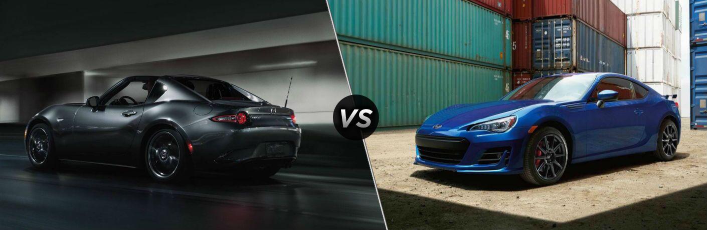 Grey 2018 Mazda MX-5 Miata RF, VS Icon, and Blue 2018 Subaru BRZ